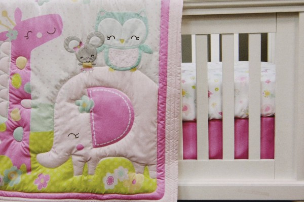 Pink Elephant Crib Bedding